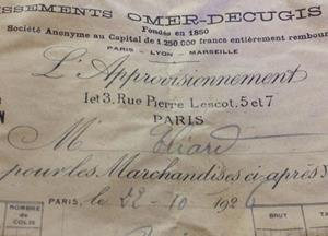 Another blast from the past! We have found 3 French receipts in a sofa dated 1926 .